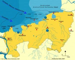 1000 AD DE zee dringt ver het land in. Op de zandgronden zijn de afwateringsbeken aangegeven