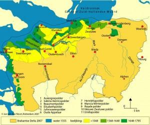 Inpolderingen vinden vooral NW van Steenbergen en rondom Moerdijk plaats
