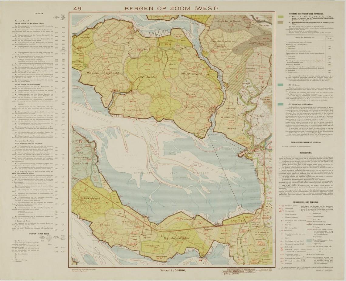 De waterschapskaart (1939) vermeldt op het eiland Tholen acht waterschappen. In de opsoming van d esluizen is zelfs de slechte onderhoudstoestand van deuren in de uitwateringssluis van de Zoom en de schuif aan de Geertruidapolder vermeld.