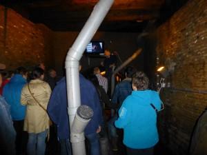 Voor aanvang van de rondleiding geeft Peter Bogers nog wat aanwijzingen en vertoont een film over de restaratie vanaf 2004
