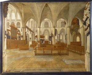 Het interieur van de Gertrudiskerk ca 1650-1670 door Daniël de Blieck. Rechts is de onderbouw van het toen aanwezige Niehoff orgel zichtbaar. Het ging in 1747 met bijna de gehele kerk ten onder. Schilderij in gemeentearchief Bergen op Zoom