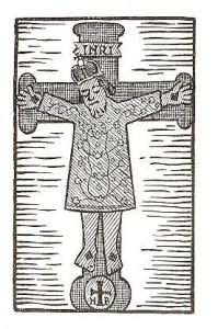 Het koningscrucifix weergegeven in de Heilig Kruis Ommegang van C Slootmans (maker lino niet vermeld)