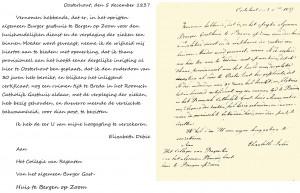 De sollicitatiebrief van Rosa de Bie die als het begin van de congregatie mag worden beschouwd