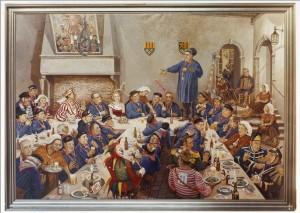 Korneel Slootmans (zie pijl) op de Boerenmaaltijd geschiler door Fons Gieles in 1984. Anton van Duinkerken houdt vanaf de tafel zijn 'vastenpredikatie'