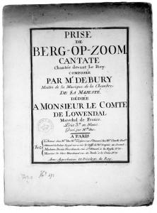 Bij de inname van de stad in 1747 is ter ere van Löwendahl ook een cantate geschreven
