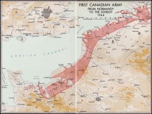 De opmars van het Canadese leger vanaf Juno Beach benoorden Caen in Normandië