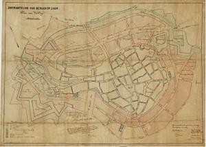Studiekaart anno 1882 ivm indeling vrijkomende terreinen na ontmanteling van de vesting