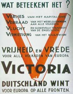 Het Duitse V- teken dat als basis diende voor de bekladding van de synagoge aan de Koevoetstraat