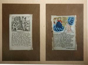 Twee prentjes met stichtelijke versjes van een veel grotere collectie