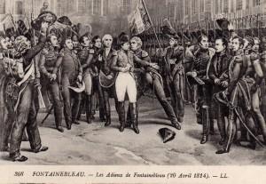 Het afscheid van Napoleon in Parijs op 20 april 1814 na het Verdrag van Fontainebleau