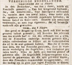 In de Arnhemse Courant van 19 maart 1814 wordt melding gedaan van hetgeen men tot in Goes van de strijd vernam.
