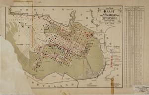 Visserijkaart Oosterschelde 1912, veel toponiemen kwamen op de Bergse Plaat terug.