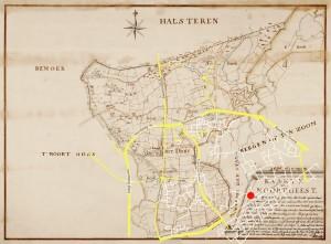 Een kaart van de heerlijkheid Noordgeest uit 1747 door H Adan. Ter orientatie is een aantal hedendaagse (hoofd)wegen er overheen geprojecteerd. De rode punt is het vertrekpunt van de excursie: MCD winkelcentrum.