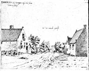 Het dorp Noordgeest omstreeks 1672; tekenaar onbekend