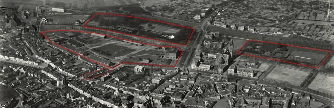 De omlijnde terreinen waren in gebruik door de veldartillerie. Blokstal 1, Kazerneterrein (waarin alleen nog het eerste manschappengebouw), Hengstveulendepot met weiden en rechts (thans Faurestraat) oefenterreinen en longeercirkels.